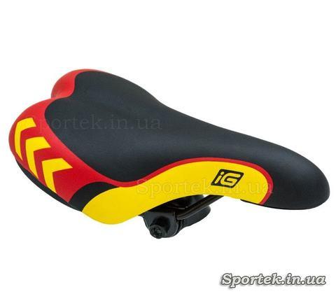 Детское велосипедное седло черно-красно-желтое (235х140)