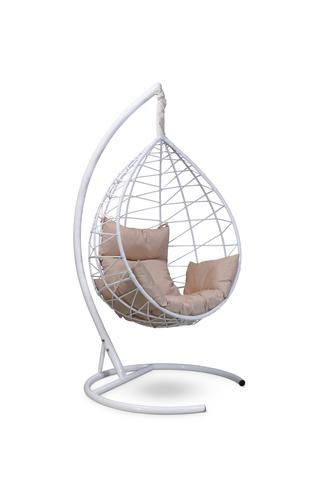 Подвесное кресло-кокон ALICANTE белое + каркас + бежевая подушка