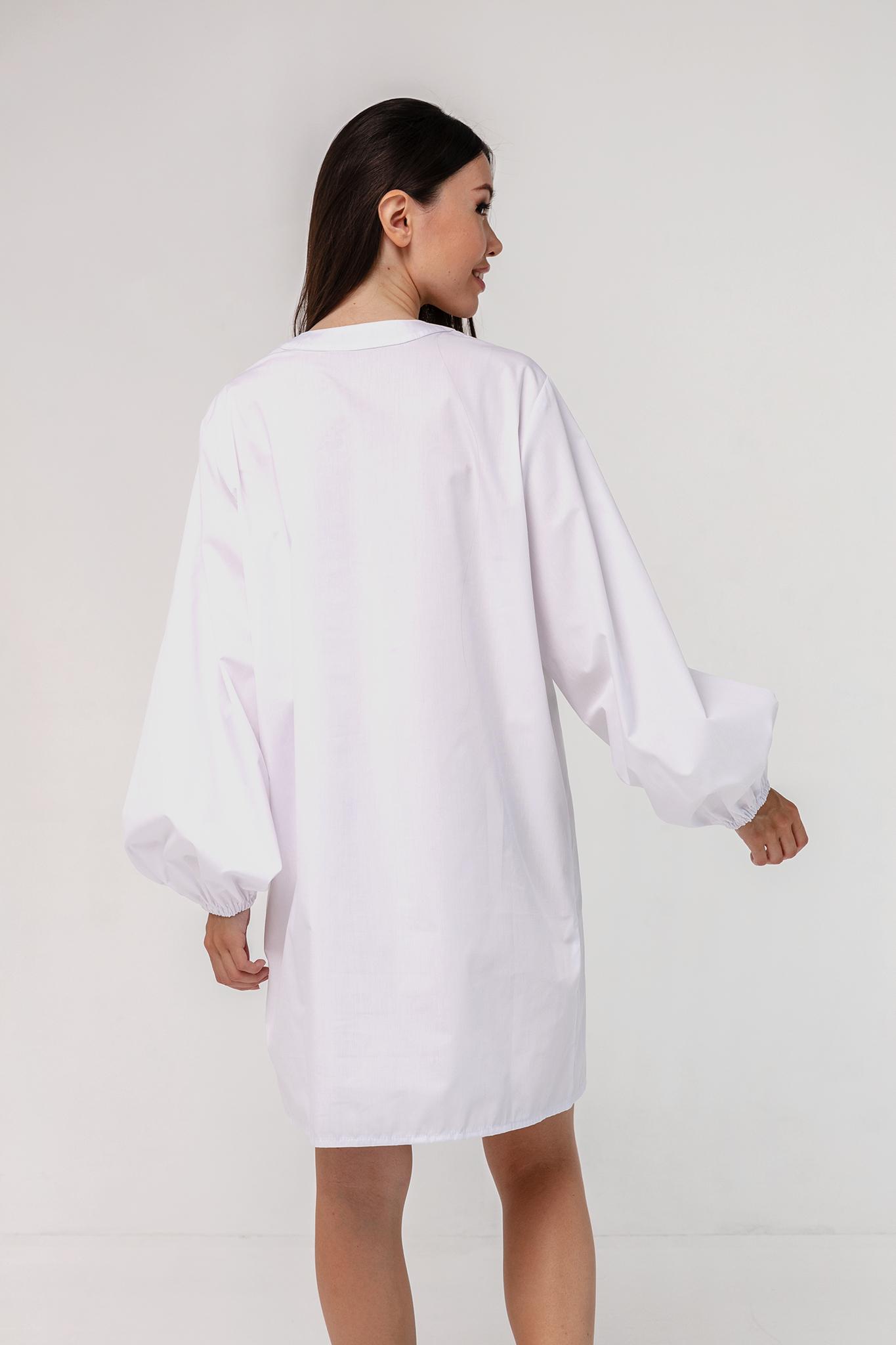 Платье-рубашка хлопковое с объемными рукавами белое YOS от украинского бренда Your Own Style