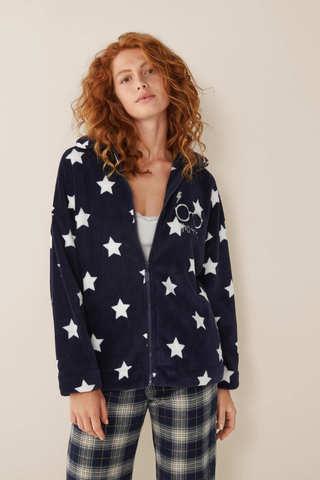 Короткий флісовий халат з зірками