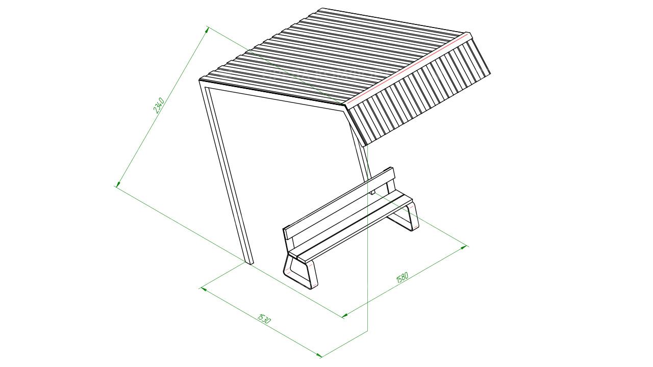 Скамейка с навесом SCAM0266