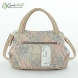 Сумка Саломея 278 плетенка розовая + серая