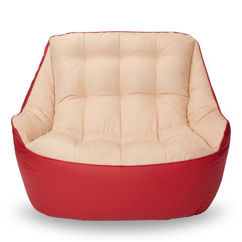 Бескаркасный диван «Босс», Красный и бежевый