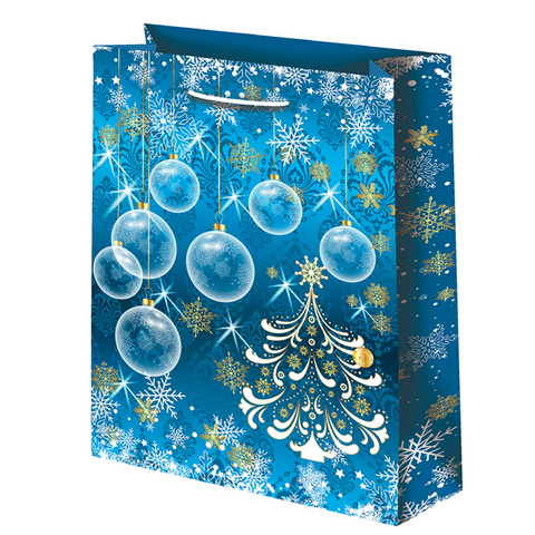 Новогодний подарочный пакет Шары на синем (большой)