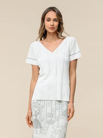 Женская футболка белого цвета из вискозы - фото 2