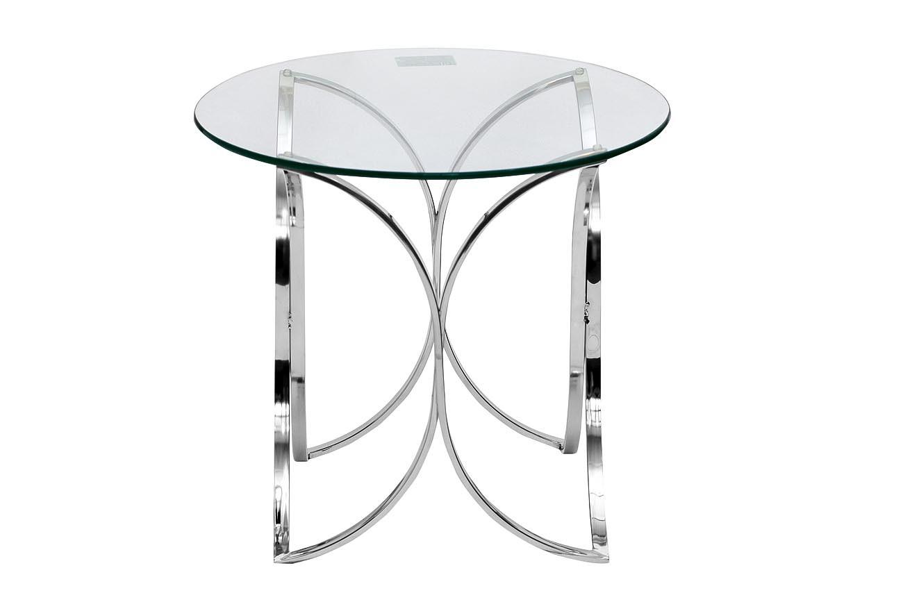 GY-ET7747 Стол журнальный прозрачное стекло/хром d60*55см