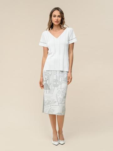 Женская футболка белого цвета из вискозы - фото 6