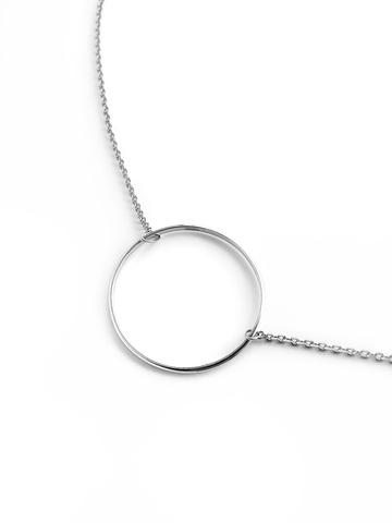 Серебряное колье на цепочке с кольцом 30 мм