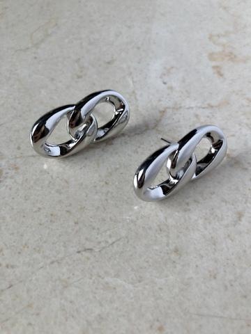 Серьги Иквилир с двумя звеньями, серебряный цвет