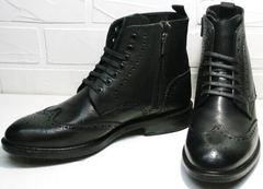 Красивые зимние  ботинки мужские на меху LucianoBelliniBC3801L-Black .