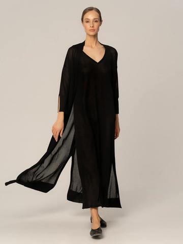 Женское платье черного цвета из шелка и вискозы - фото 2