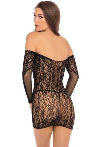 Пикантное короткое платье с длинным рукавом и отрытыми плечами