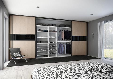 Шкаф четырехдверный, ширина 400 см, (ЛДСП+стекло)