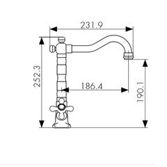Смеситель KAISER Carlson Style 44233 хром и 44233-1 бронза для кухни схема