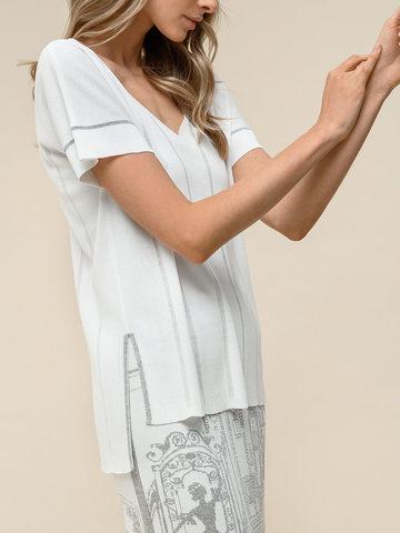 Женская футболка белого цвета из вискозы - фото 3