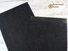 Фоамиран с блестками черный 2мм (уценка)