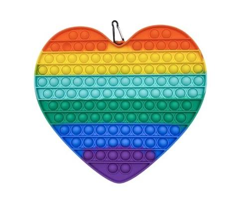 Антистресс игрушка Pop It, большое сердце, радужный