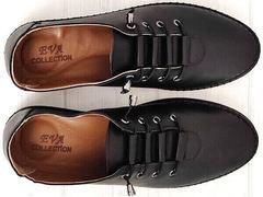 Черные кожаные кроссовки мокасины на шнурках женские smart casual стиль EVA collection 151 Black.
