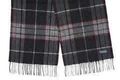 Шерстяной шарф, мужской в клетку серо-черный 31462