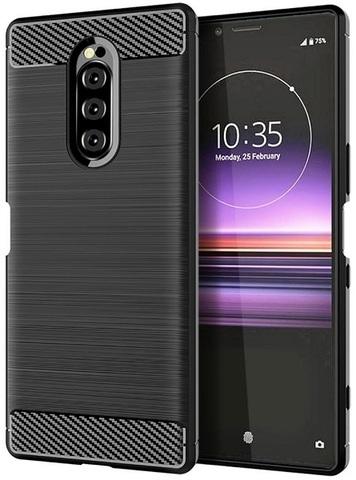 Чехол на Sony Xperia 1 цвет Black (черный), серия Carbon от Caseport