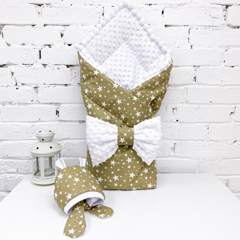 СуперМамкет. Конверт-одеяло с бантом и шапочкой Звезды, коричневый/белый плюш