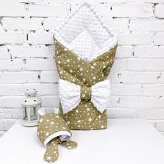 СуперМамкет. Конверт-одеяло с бантом и шапочкой Звезды, коричневый/белый плюш вид 1