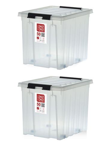 Ящик для хранения RoxBox с крышкой на роликах прозрачный 50 литров, набор из 2 штук