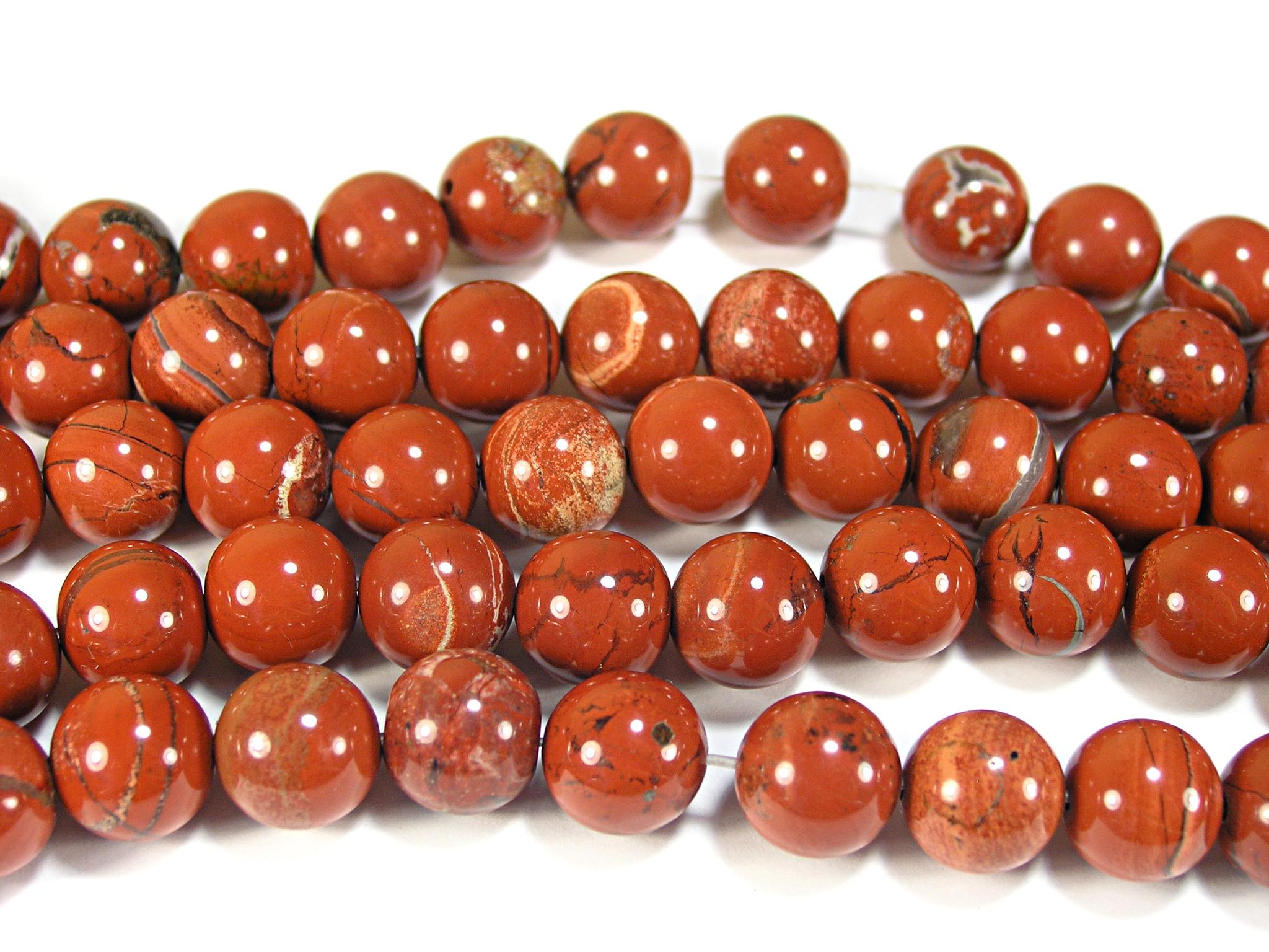 Нити бусин из яшмы красной, шар гладкий 12мм (оптом)