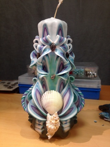 Резная свеча Бирюзовое море 17 см