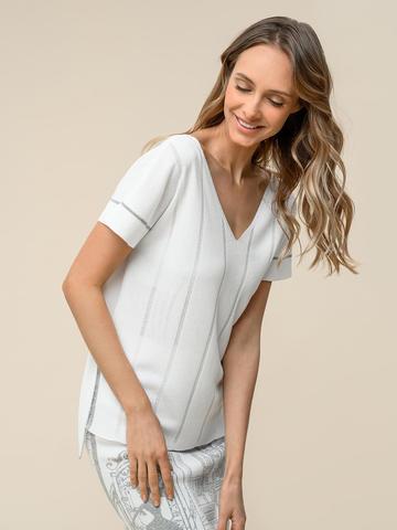 Женская футболка белого цвета из вискозы - фото 5
