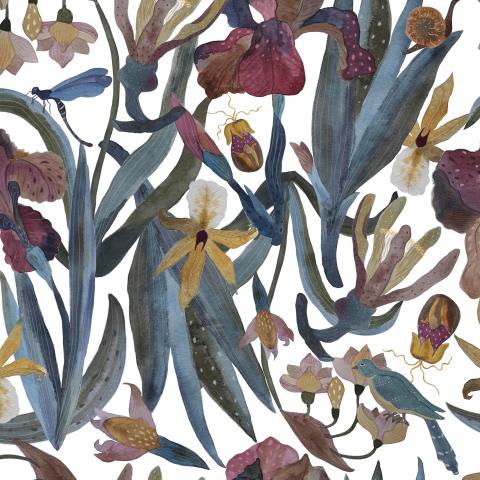 Ирисы, цветы, птица на светлом, акварель
