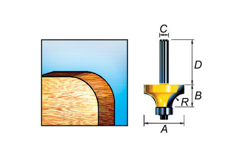 Фреза кромочная калевочная 18,7*9,5*32/8 мм, R=3 мм