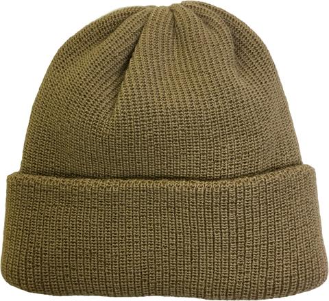 Зимняя шапка бини с отворотом - цвет бежевый