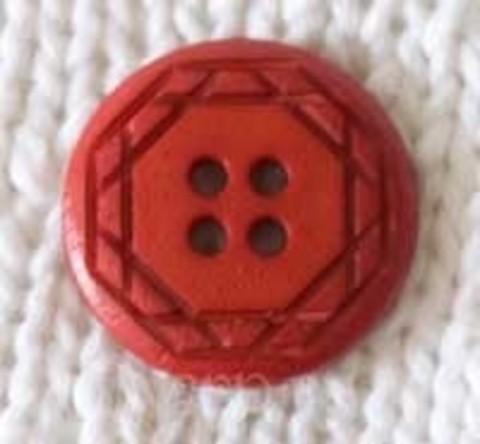 Пуговица с орнаментом круглая, красная