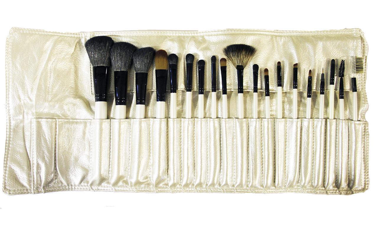 Профессиональный набор кистей для макияжа из натурального ворса. 19 шт.