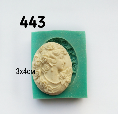0443 Молд Камея Дама розы
