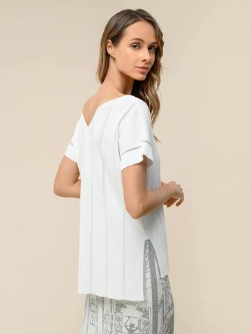 Женская футболка белого цвета из вискозы - фото 4
