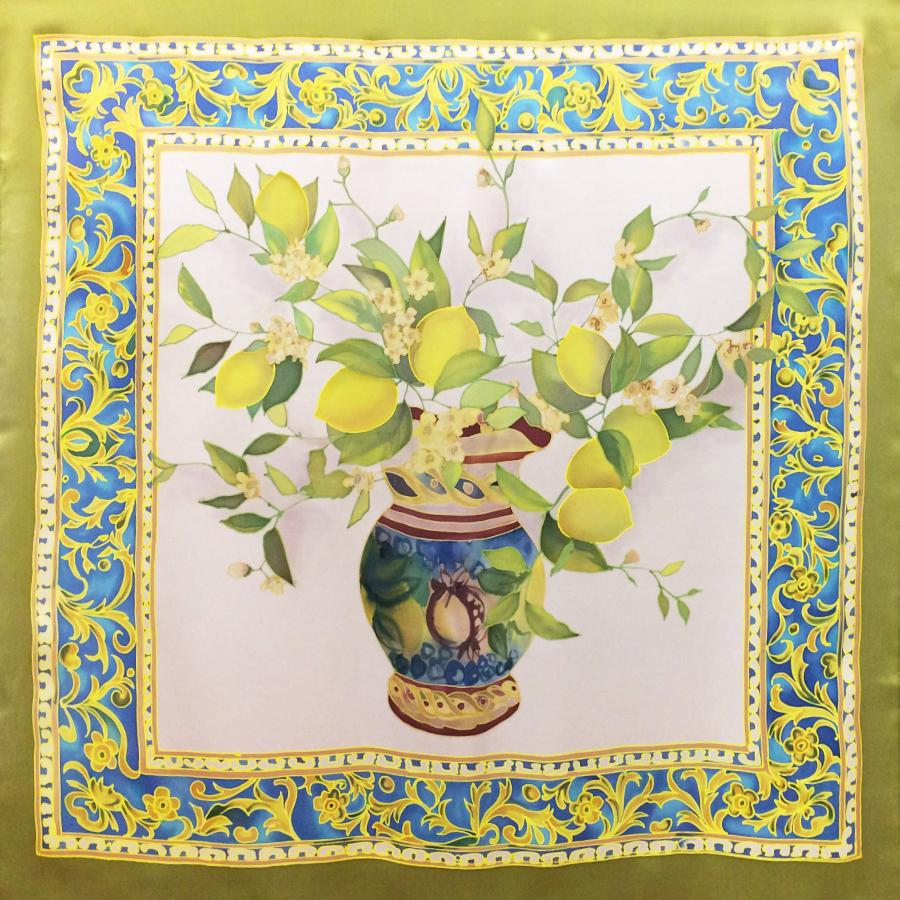 Платок батик Сочные лимоны С-61