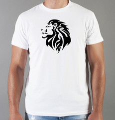 Футболка с принтом Лев (Lion) белая 0019