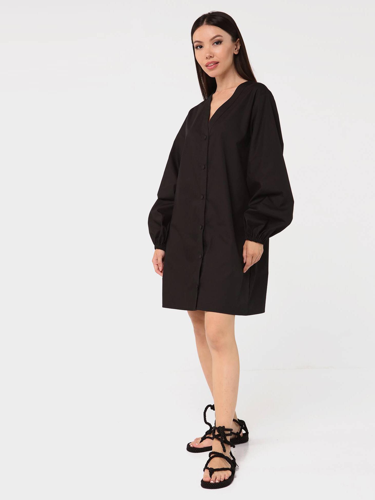 Платье-рубашка хлопковое с объемными рукавами черное YOS от украинского бренда Your Own Style