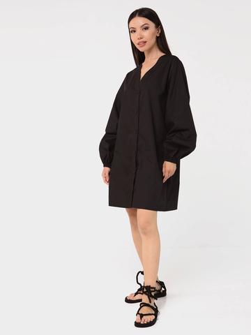 Платье-рубашка хлопковое с объемными рукавами черное YOS