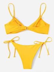 купальник бикини желтый с лямками твист Yellow Twist 2