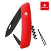 Швейцарский нож SWIZA D01 AllBlack, 95 мм, 6 функций, красный (подар. упак.)