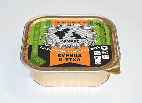 ЗООРИНГ Консервированный полнорационный корм для кошек (кусочки в желе) Курица и утка 1.6 кг.
