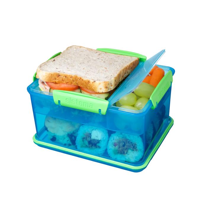 """Ланч-бокс Sistema """"Lunch"""", 4 секции, 2,3 л, цвет Голубой"""