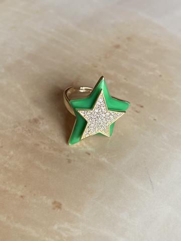 Кольцо Звезда зеленое, позолоченное серебро
