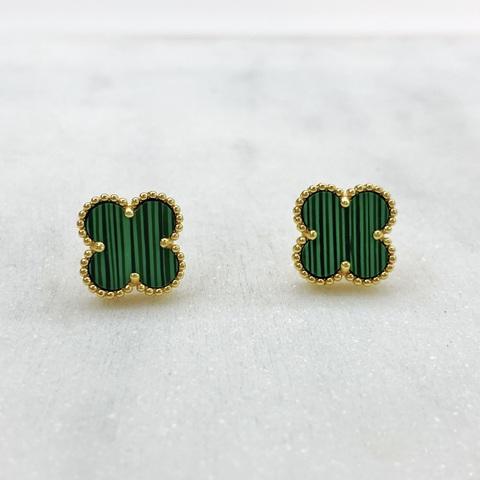 Серьги-пусеты Клевер (зеленый, золотистый)