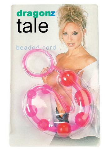 Розовая анальная цепочка на жесткой сцепке - 31 см.