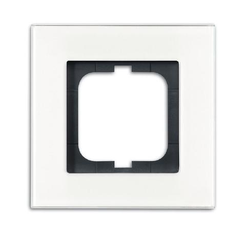 Рамка на 1 пост. Цвет Белое стекло. ABB(АББ). Carat(Карат). 1754-0-4442