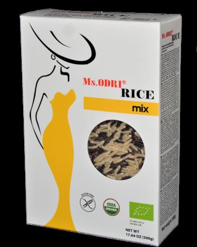 Рис смесь (бурый, черный) длиннозерный нешлифованный органический ODRI, 500г